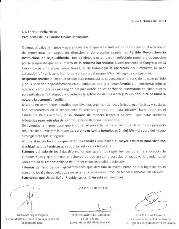 carta a EPN PRI